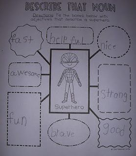 Describe that noun: This is a simple worksheet that is a web with words that describe the noun. This would help kids to learn more adjectives and also have fun describing different nouns!