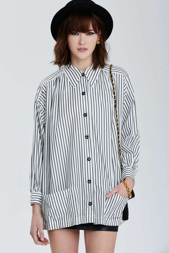 Vintage Chanel. black and white striped blouse