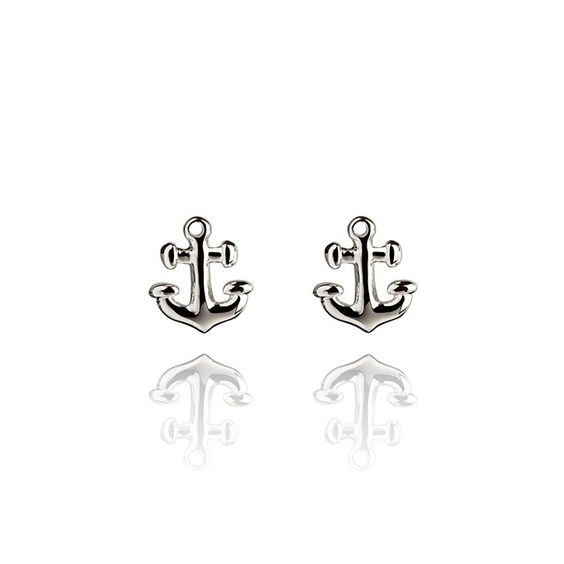 Anchor Sterling Silver Stud Earrings