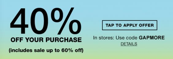 #GapCA: Gap Canada Offers: Save an Extra 40% off Your Purchase with Promo Code http://www.lavahotdeals.com/ca/cheap/gap-canada-offers-save-extra-40-purchase-promo/103750