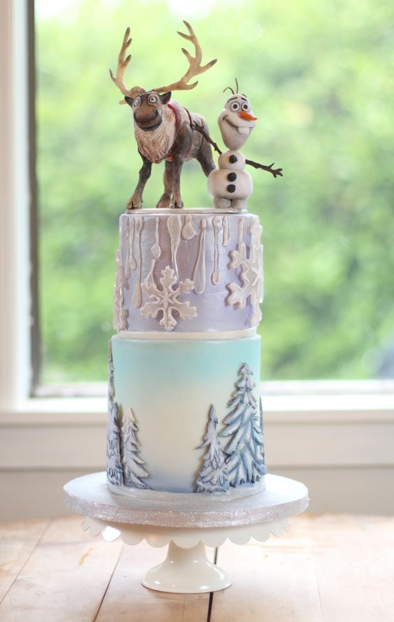- Disney Frozen cake. Modeling chocolate characters on top tier, Sven and Olaf. Hand made isomalt snowflakes and icicles. Modeling chocolate trees on bottom tier. Mini 6 in and 5 in cakes