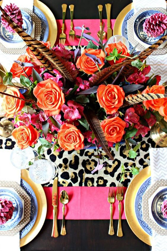 bright colorful Thanksgiving table setting