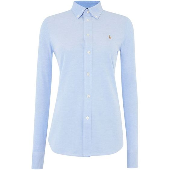 Polo Ralph Lauren Heidi oxford stretch shirt 350 UAH) ? liked on Polyvore featuring tops, long sleeves, blue, women, long sleeve collared shirt, ...