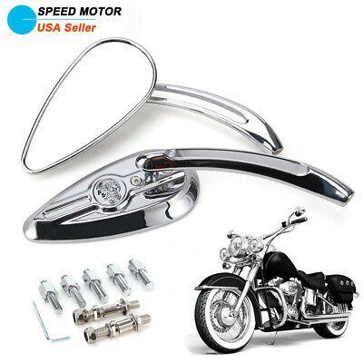 Motorcycle Aluminum Black Tear Drop Rearview Mirrors For Harley Chopper Bobbler