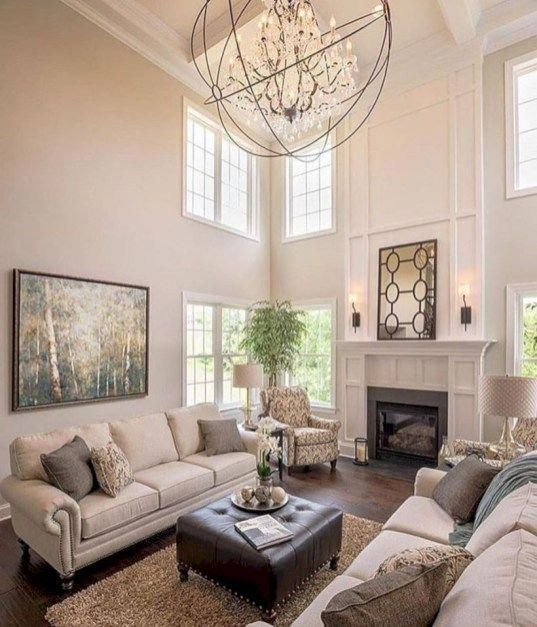 Inspiring Living Room Ideas With Fireplace Design 21 Livingroommakeovers High Ceiling Living Room Comfortable Living Rooms Living Room With Fireplace #sleeping #in #the #living #room #ideas