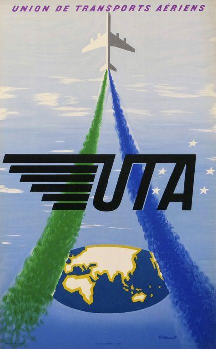 uta - union des transports aeriens : 1950 affiches anciennes de VILLEMOT Bernard
