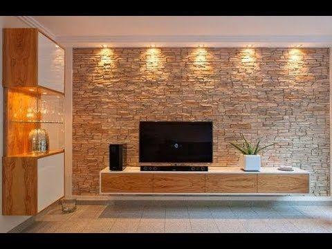 Tv Hall Designs In 2020 Brick Living Room Stone Wall Living Room Stone Wall Interior Living Room