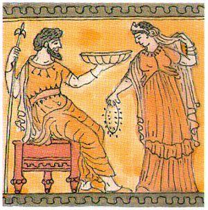 El Mito de Perséfone(Grecia), Prosepina (Roma): Es hija de Zeus y de Deméte. La joven doncella, llamada hasta entonces Kore (Κόρη: 'hija'), es raptada por Hades y se convierte en la reina del Inframundo.