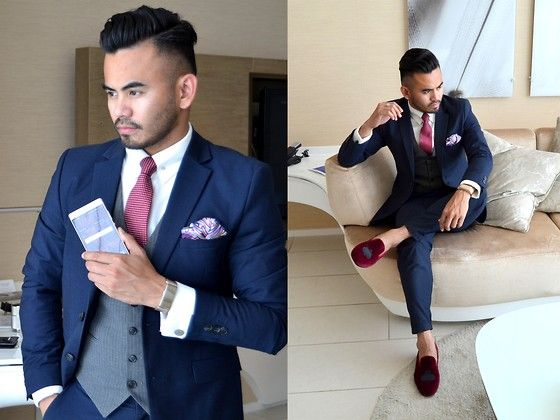 H&M Navy Suit, Ysl Waistcoat, Bachelor Shoes Slippers | # MENSWEAR