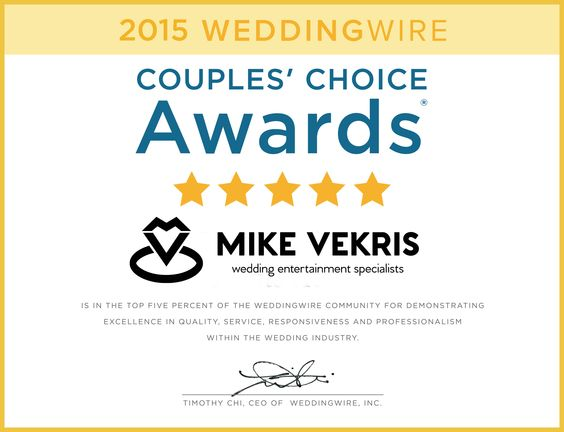 Wedding Wire Award for Mike Vekris Wedding Entertainment