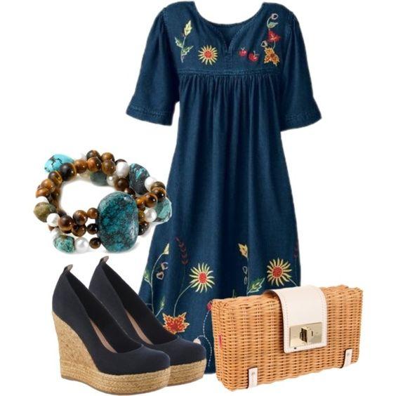 casual summer (Women's National Harvest Denim Dress )