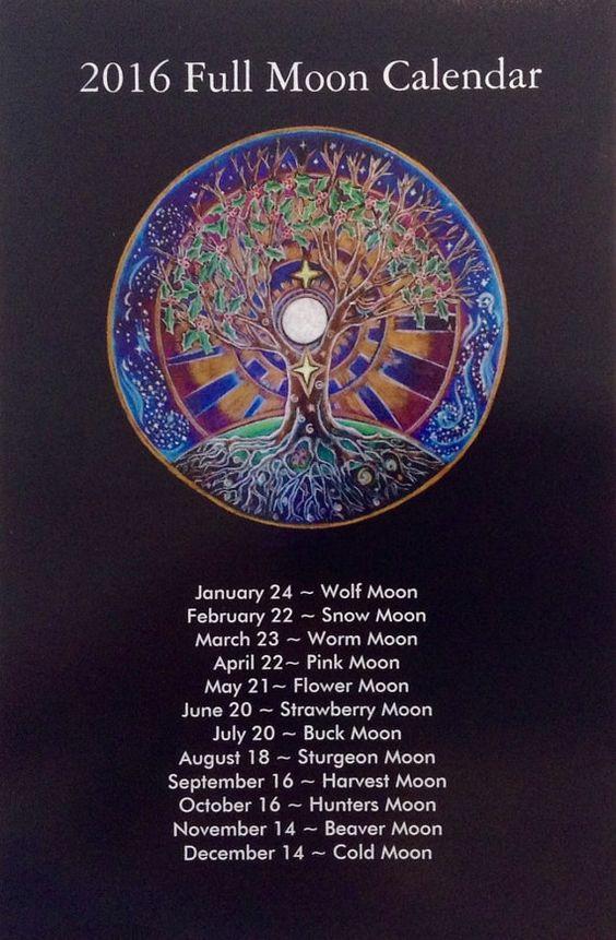 2016 calendrier pleine lune arbre de vie par SoulArteEclectica