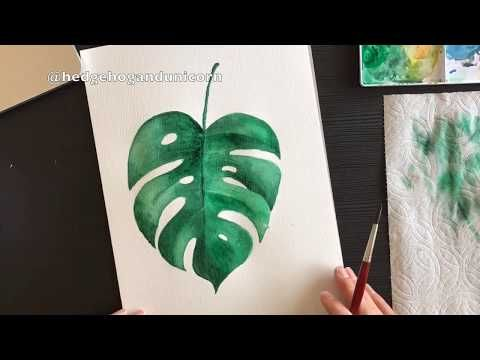 Speed Painting Of A Tropical Leaf With Watercolors Youtube