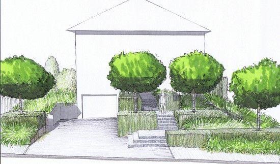 jardin de lotissement perspective avant 3 vol es d 39 escaliers landscape architecture. Black Bedroom Furniture Sets. Home Design Ideas