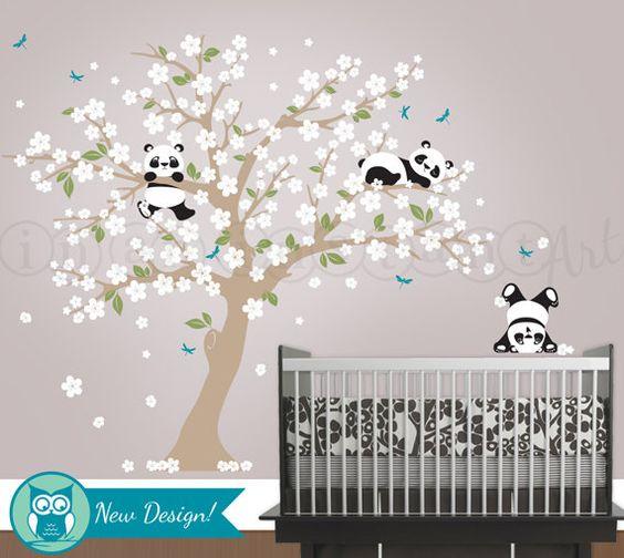 Panda and Cherry Blossom Tree Wall Decal Panda by InAnInstantArt