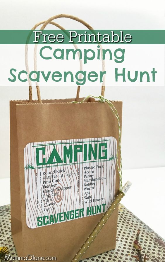 Free Printable Camping Scavenger Hunt Simple Diy Camping Activity To Encourage The Kids To Get