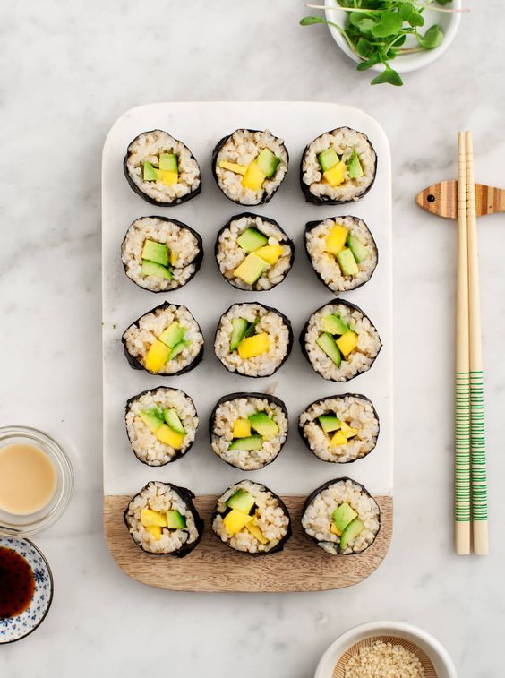 Avocado and Mango Brown Rice Sushi - Healthy at-home sushi. Vegan and gluten free.