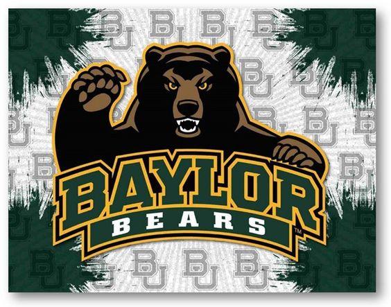 Baylor Bears D1 Printed Logo Canvas. Visit SportsFansPlus.com for Details.