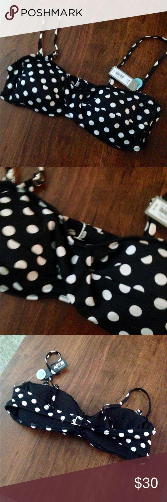 NWT Apt.9 Polka Dot Bandeau Bikini Top-B/C Cup NWT Apt.9 Polka Dot Bandeau Bikini Top-B/C Cup. Adjustable straps. Size XL but cut small. Open to offers! Apt. 9 Swim Bikinis