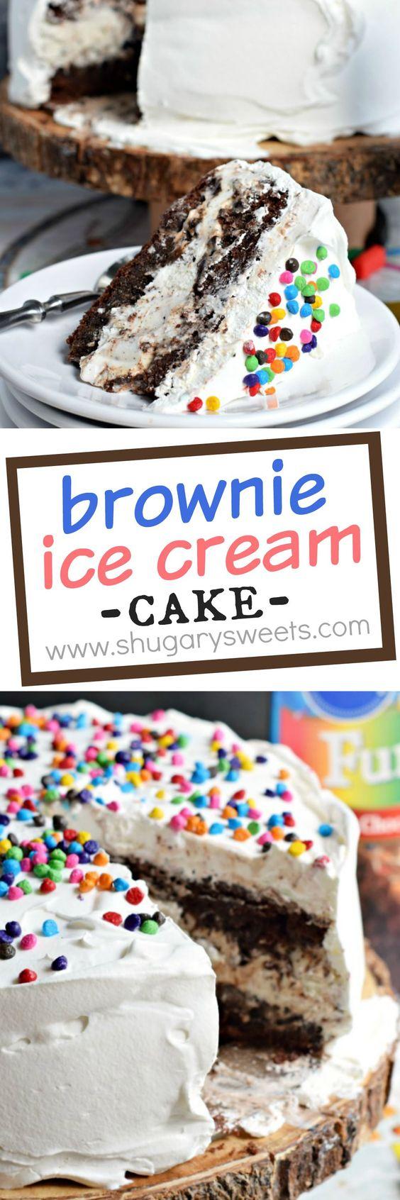 Cookies and Cream Brownie Ice Cream Cake: the perfect dessert recipe! @pillsburybaking #sponsored