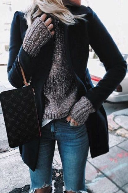 black jacket, winter outfit, ripped jeans, gray sweater, black tote bag