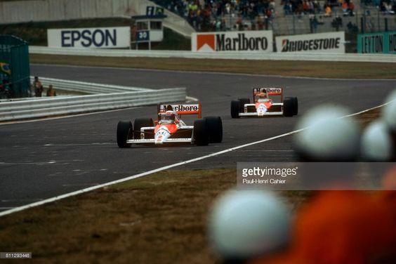 Ayrton Senna i Alain Prost w trakcie GP Japonii 1988 tor Suzuka