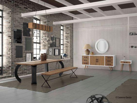 Emulsión de estilo vintage industrial: conjunto mesa comedor ...