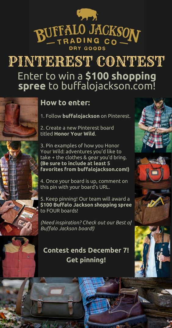 "MORE TIME TO WIN!!! Just in time for Christmas - it's the Buffalo Jackson ""Honor Your Wild"" Pinterest Contest. The Buffalo Jackson team will choose FOUR WINNERS. Contest has been EXTENDED through Dec 21, 2014 - let's get pinning!"