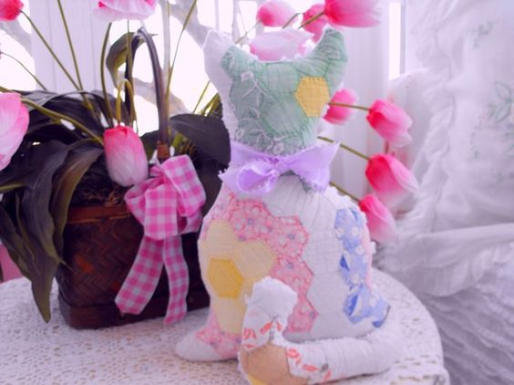 PP Vintage Chenille And Vintage Quilt Kitty Cat by thepinkpalace