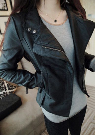 Vegan Leather Crop Jacket - Black - Pointed Hem Top #fashion #stylish #dress #lookbookstore #outerwears