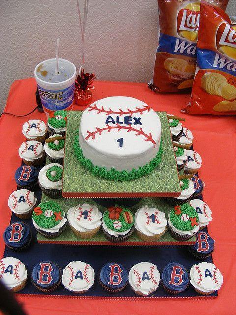 Pleasing Red Sox Baseball Birthday Cake And Cupcakes Baseball Birthday Funny Birthday Cards Online Necthendildamsfinfo