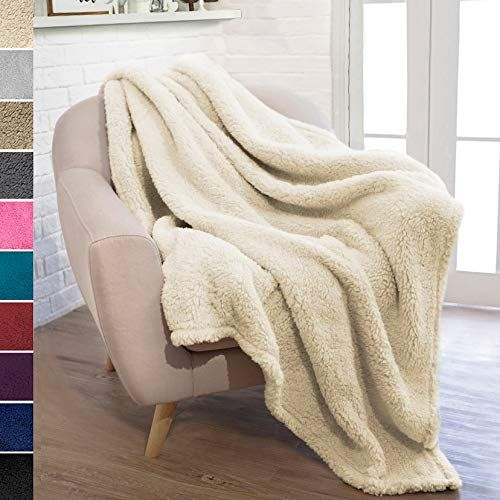 Pavilia Plush Sherpa Throw Blanket For Couch Sofa Fluffy