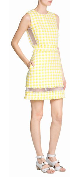 Imbued with classic ladylike style, this sunshine-hued tweed sheath from MSGM brightens up your daytime look #Stylebop