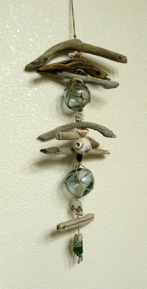 Japanese glass float driftwood hanger by TideLinesAndMemories, $55.00