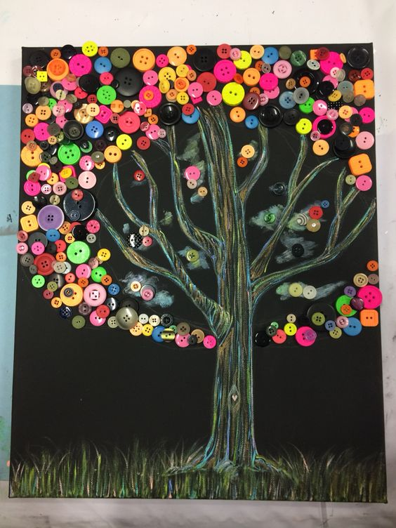 Button tree collaborative art I drew the tree and the children glued on the buttons