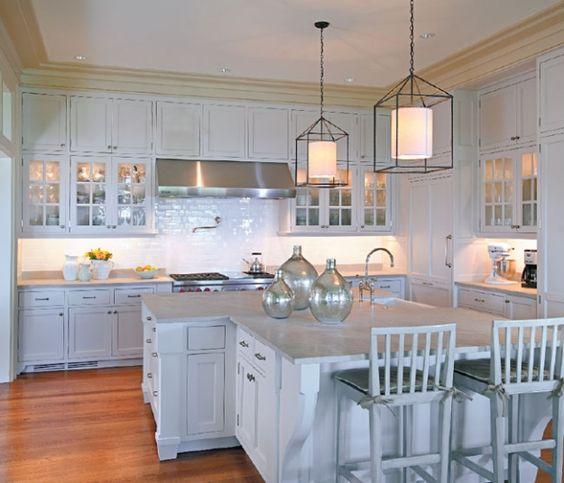 White beach kitchen, lantern pendant lights