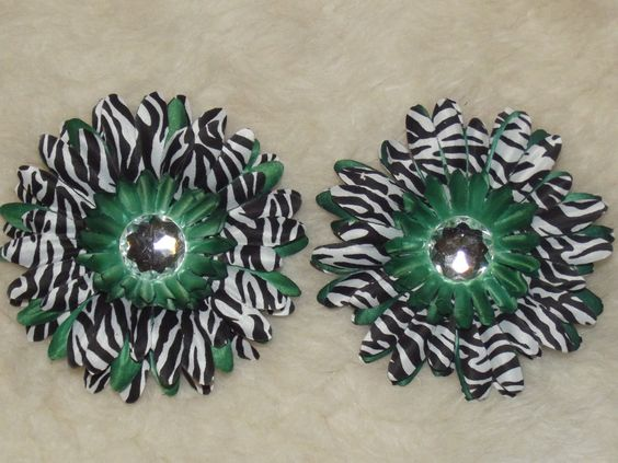 2 Green and Zebra Gerbera Flowers For Your Crafting by teb225, $2.50