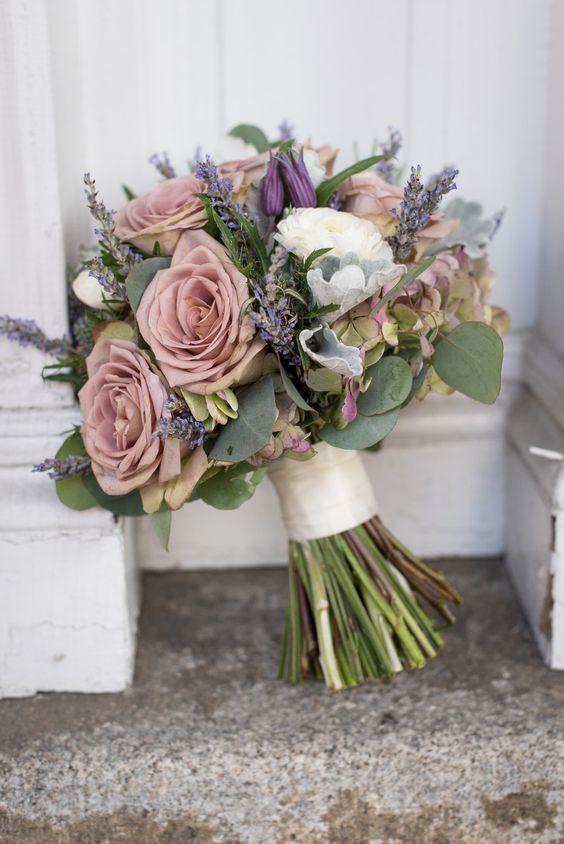 Vintage Inspired Bouquet - #rosequartz amnesia Roses, Ranunculus, Lavender, Antique Hydrangeas