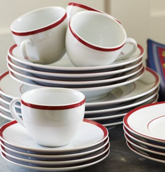 Red-Banded Porcelain Dinnerware Place Settings