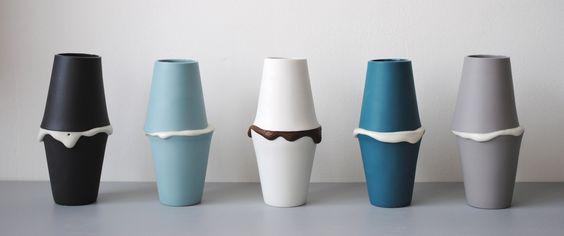 Famille de vases macarons