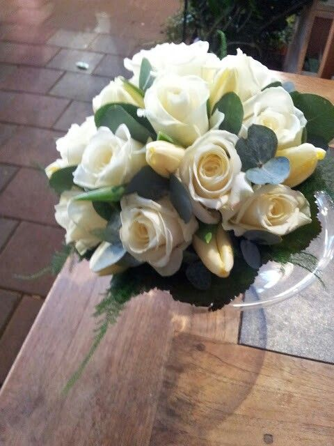 Bruidsboeket #rozen#tulp#asparagus#eucalypthus#galax# Home-made