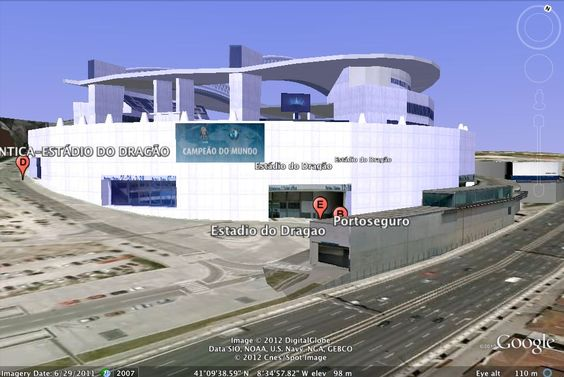 Modelação 3D do Estádio do Dragão - F.C.Porto.  Pode encontrar este nosso trabalho na camada earth do google maps.