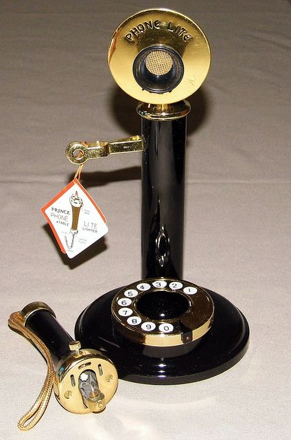 """Vintage """"Phone Lite 1929"""" Novelty Table Cigarette Lighter By Prince, Shaped Like An Old Candlestick Phone, Made In Japan by France1978, via Flickr"""