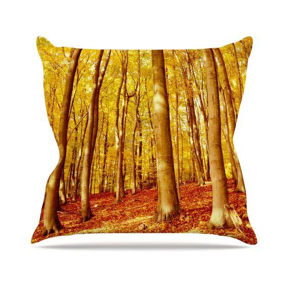 "Iris Lehnhardt ""Forest Colors"" Yellow Orange Throw Pillow"