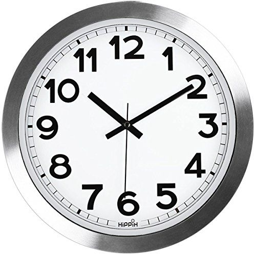 Silent Wall Clock Hippih12 Inch Quiet Non Ticking Office Wall Clocks Silver Aluminium Decorative Clocks For Bathroom Kitchen Home School Gym Battery Operated Office Wall Clock Clock Decor Wall Clock
