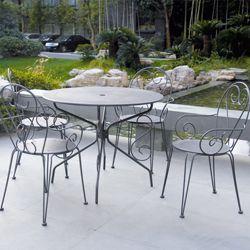 Salon de jardin métal gris ROMANCE : 1 table ronde + 4 fauteuils ...
