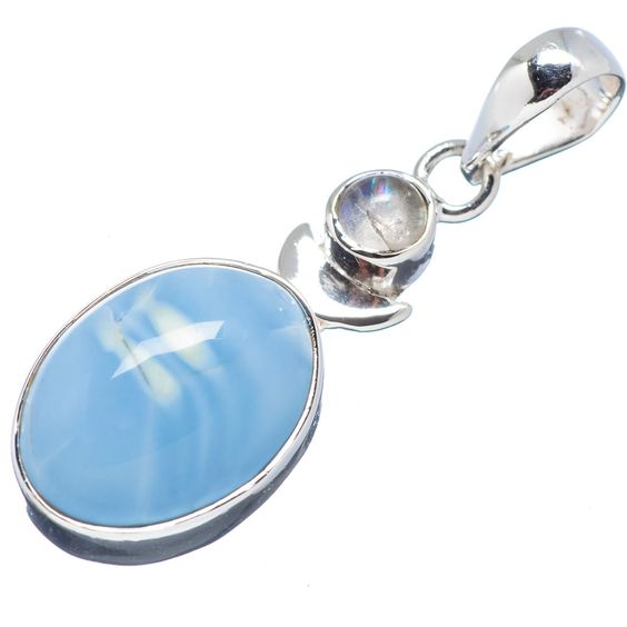 """Owyhee Opal, Rainbow Moonstone 925 Sterling Silver Pendant 1 3/4"""" PD529662"""