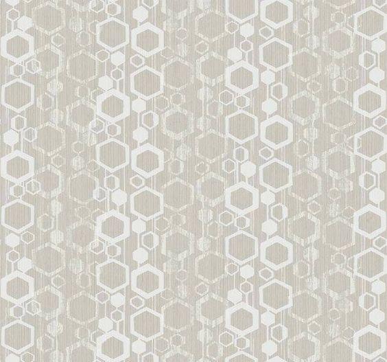 Wallpaper Designer New Retro Mid Century Modern Geometric Gray Hexagon Glitter