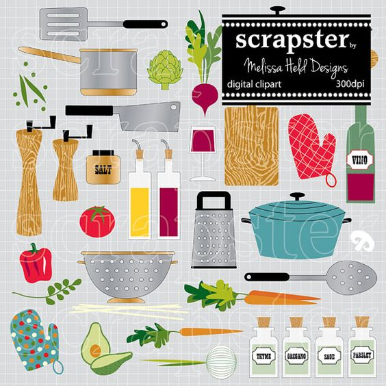 Digital Cooking Motifs Clipart | Cooking and Etsy
