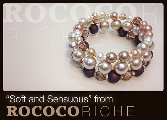 Glass pearls and brown beads make for a soft and sensuous bracelet! Pink Pearl Bracelet with Memory Wire by RococoRiche on Etsy,  handmade jewelry available on Etsy!